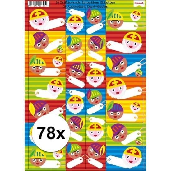 Sinterklaas cadeau etiketten 78 stuks Cadeau /sinterklaaskado-spullen/sinterklaas-kado-versiering