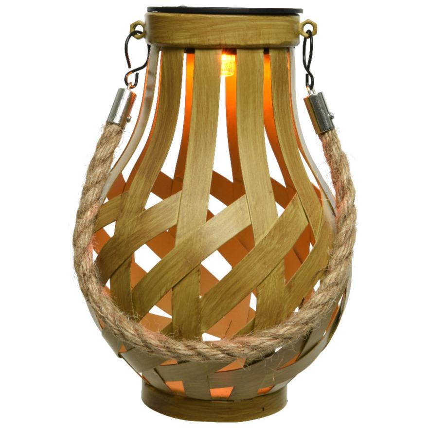 Solar lantaarn ijzer met vlam effect goud 18,5 cm