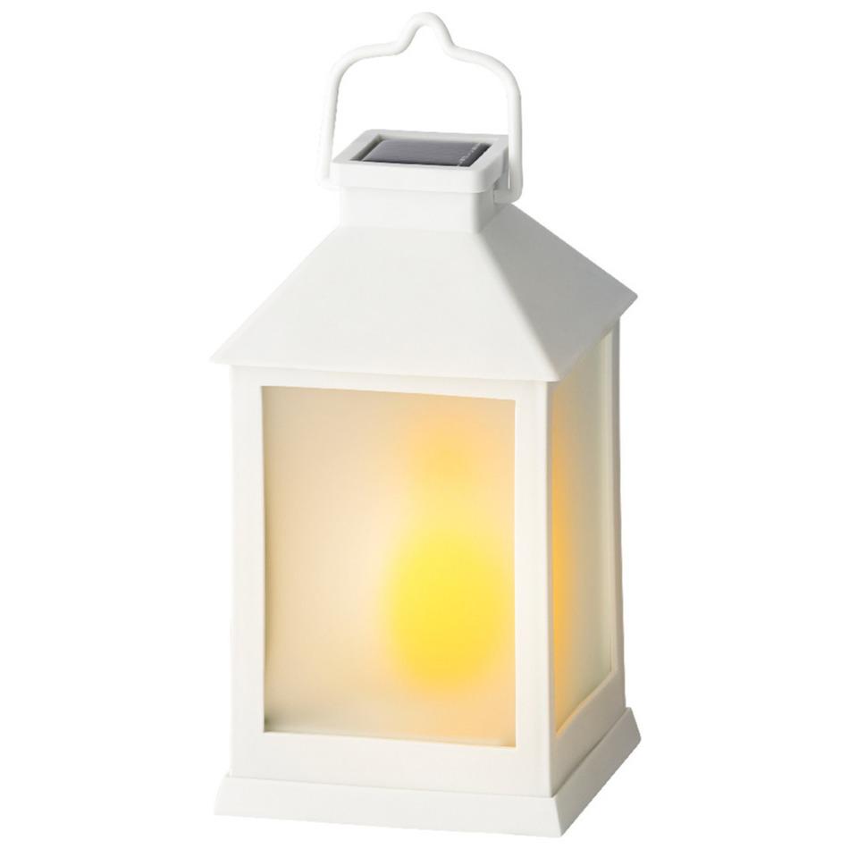 Solar lantaarn kunststof met vlam effect wit 18 cm