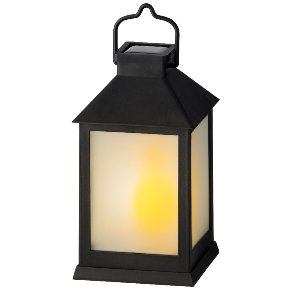 Solar lantaarn kunststof met vlam effect zwart 18 cm