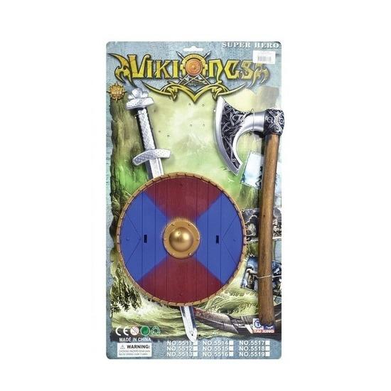 Verkleed viking set zwaard blauw-rood schild en bijl