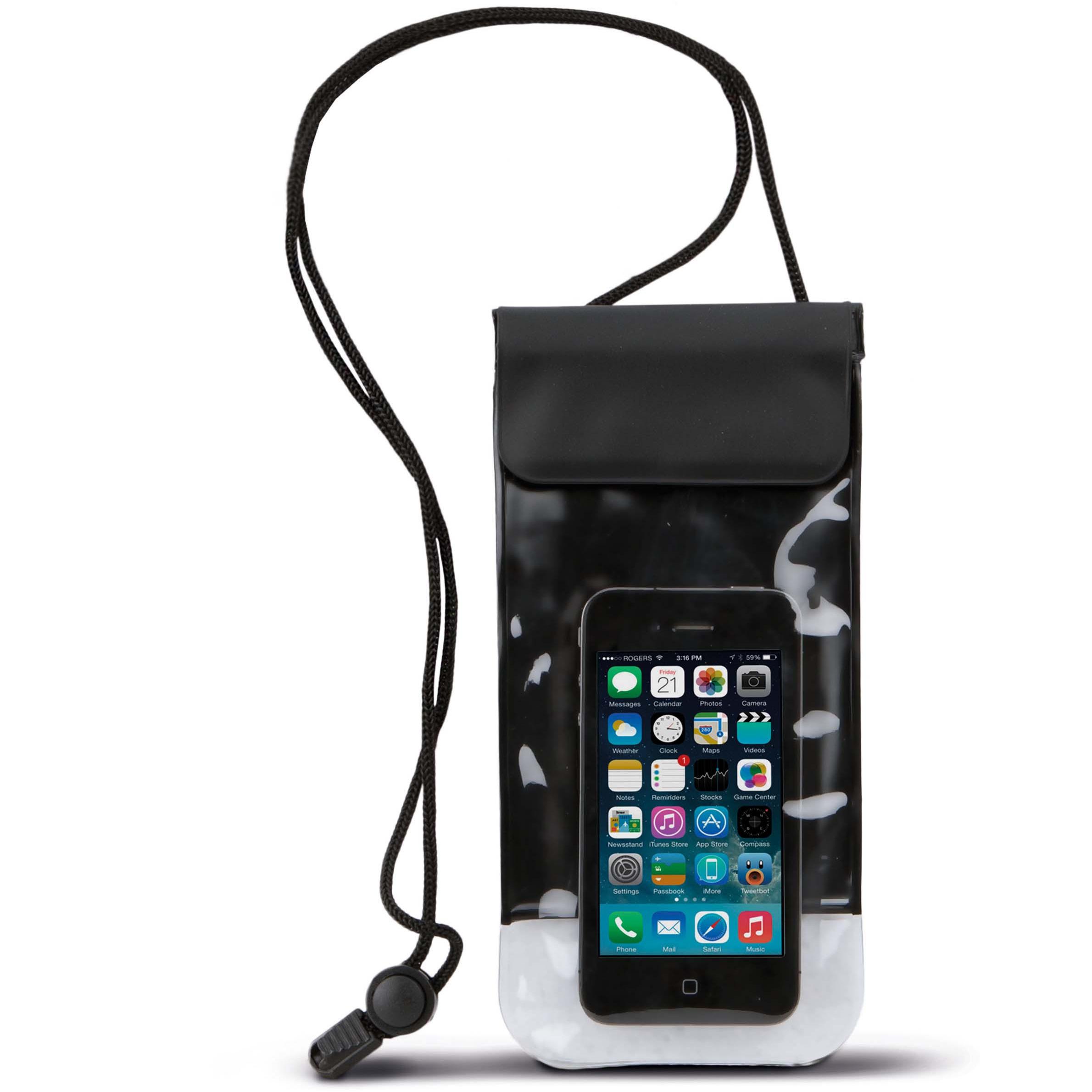 Waterdichte smartphone hoes met nekkoord zwart 10 x 20 cm