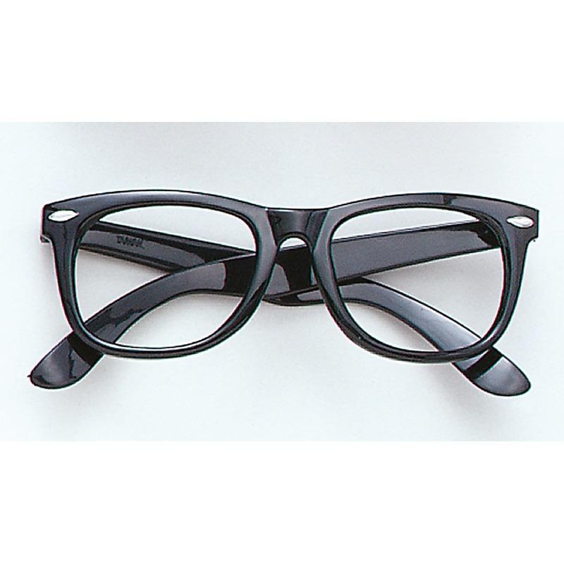 Zwarte carnaval verkleed bril zonder glazen